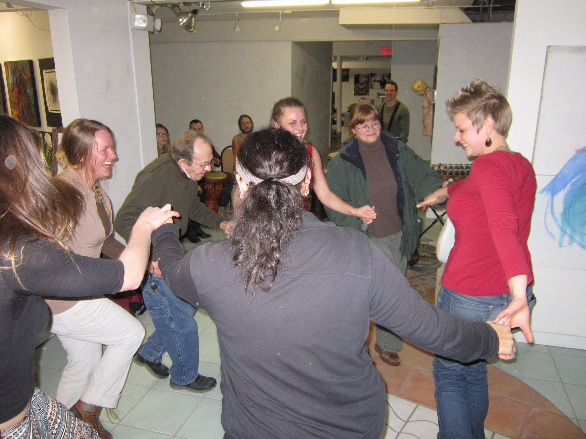 Otto dancing with friends at Creative Spirit